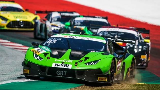 Der Wiener Mirko Bortolotti landete im steirischen Lamborghini des Grasser Racing Teams beim zweiten ADAC GT Masters in Spielberg auf Rang vier. (Bild: Philip Platzer/Red Bull Content Pool)