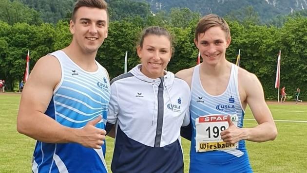 Drei Goldene der Union Salzburg: Diskuswerfer Lukas Stiper, Weitspringerin Ingeborg Grünwald, Sprinter Jakob Hinterholzer. (Bild: USLA)