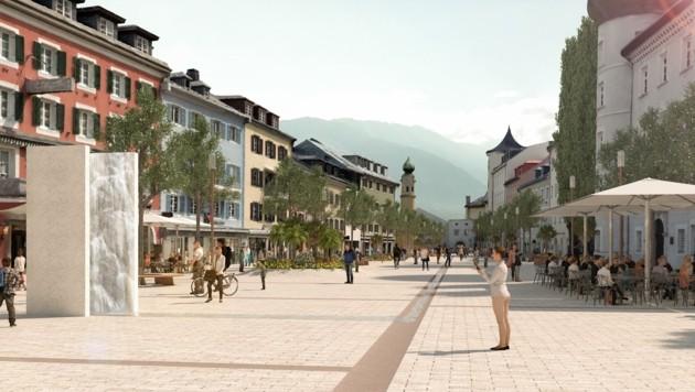 So könnte der neue Hauptplatz in Zukunft aussehen. (Bild: Stadt Lienz/Aberjung)