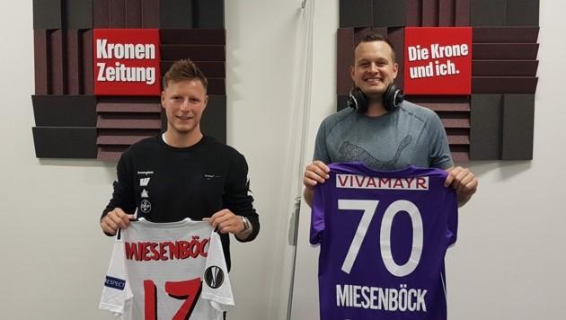 """Fußballer Fabian Miesenböck und """"Krone""""-Podcaster Patrick Jochum. (Bild: JOMO KG)"""