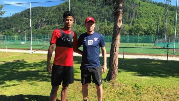 GAK-Coach Plassnegger hofft auf Tore von Zugang Felipe Pedro (l.) (Bild: Volker Silli)