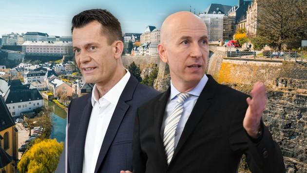 Getrennt in Luxemburg: Gesundheitsminister Wolfgang Mückstein und Arbeitsminister Martin Kocher (Bild: APA/HELMUT FOHRINGER, APA/HERBERT NEUBAUER, stock.adobe.com, Krone KREATIV)