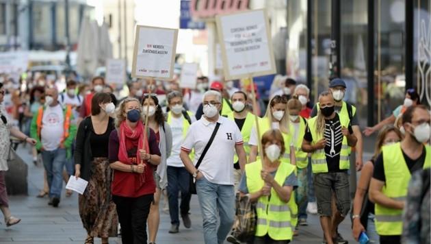 Am Mittwoch demonstrierten die Beschäftigten im Gesundheitswesen in der Wiener Innenstadt. (Bild: Gerhard Bartel)