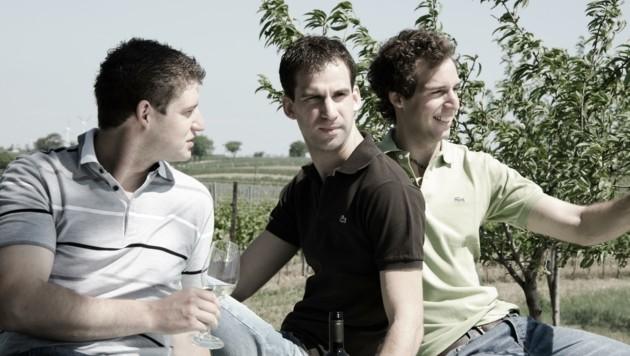 Christian, David und Markus Weiss kredenzten Native Grape (Bild: Weingut Weiss)