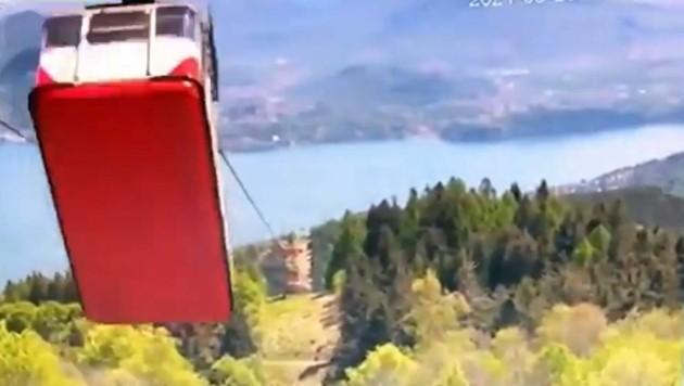 Knapp vor der Bergstation riss plötzlich das Zugseil. (Bild: Seilbahn Stresa–Monte Mottarone )