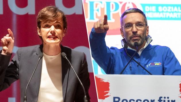 SPÖ-Chefin Pamela Rendi-Wagner und FPÖ-Chef Herbert Kickl. (Bild: APA/EXPA/Johann Groder, APA/AFP/Joe Klamar, Krone KREATIV)