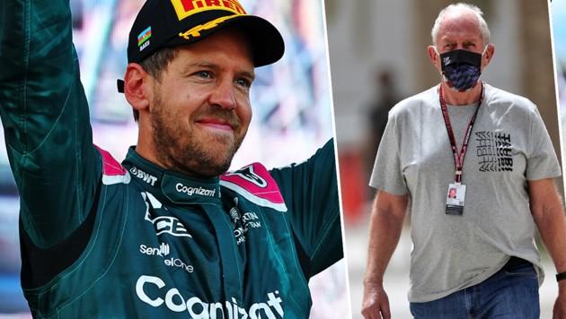 Sebastian Vettel (li.) und Helmut Marko (Bild: GEPA )