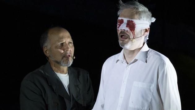 Das Schicksal nahm seinen Lauf. Ödipus (rechts) und Kreon. (Bild: SYLVIA GROESSWANG)