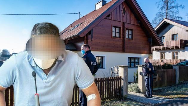In diesem Haus soll der Mann seine Cousine vergewaltigt und ermordet haben. (Bild: APA/FOTOKERSCHI.AT/WERNER KERSCHBAUMMAYR, Krone KREATIV)