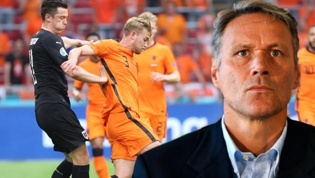 Marco van Basten (re.) kritisiert Matthijs de Ligt (Mitte) (Bild: GEPA )
