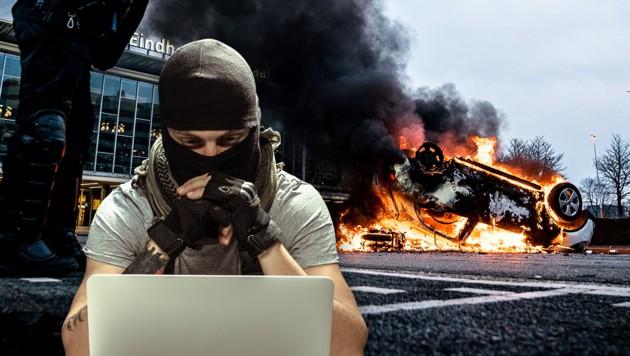 Bei Corona-Protesten in den Niederlanden kam es im Jänner zu gewalttätigen Ausschreitungen. (Bild: AFP, stock.adobe.com, Krone KREATIV)