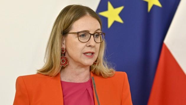 Wirtschaftsministerin Schramböck will bei Ausschreibungen verstärkt Klein- und Mittelbetriebe berücksichtigen. (Bild: APA/HANS PUNZ)