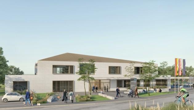 So wird das neue Gemeindezentrum in Pamhagen aussehen. Gemeinde, Arzt und Polizeiinspektion ziehen in ein Gebäude. (Bild: Nina Widowitz.)