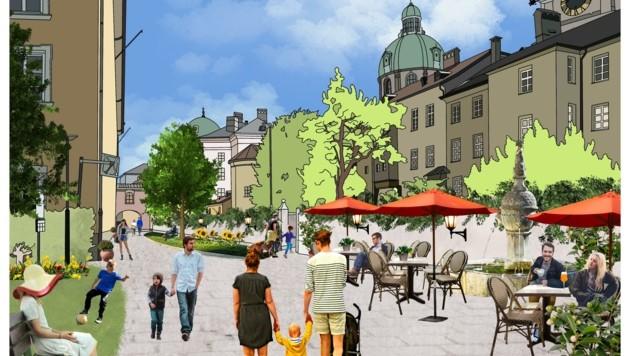 """Eine Visualisierung von """"Für Innsbruck"""", wie die Herrengasse in Zukunft aussehen könnte. Innsbruck ist eine Stadt der kurzen Wege, war man sich im Gemeinderat einig. Vier neue 30er-Zonen wurden beschlossen. (Bild: zvg)"""