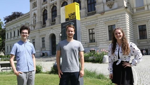 Das neue ÖH-Vorsitz-Team: Michael Pucher (Junos), Kilian Posch (AG), Karoline Gürtl (Gras) (Bild: Christian Jauschowetz)