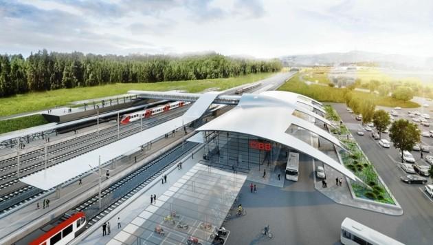 So soll sie in vier Jahren aussehen, die neue Verkehrsdrehscheibe in der Weststeiermark! (Bild: ÖBB Zechner)