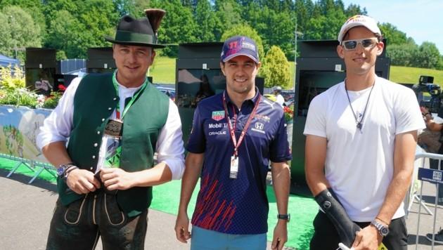 Andreas Gabalier und Dominic Thiem trafen auch Red-Bull-Pilot Checo Perez. (Bild: Sepp Pail)