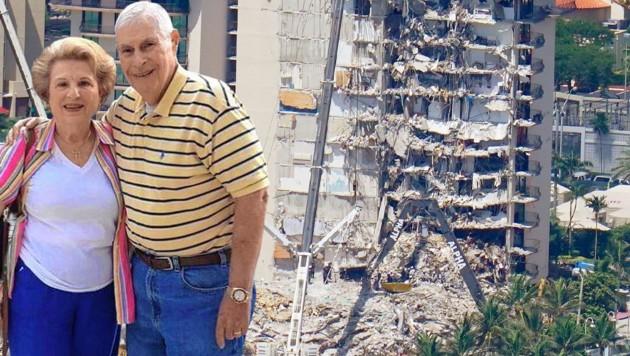 Arnie and Myriam Notkin wohnten in dem eingestürzten Apartmenthaus. (Bild: Jake Samuelson, AP, Krone KREATIV)