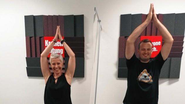 Yogalehrerin Tanja Gratzer und Podcaster Patrick Jochum. (Bild: JOMOKG)