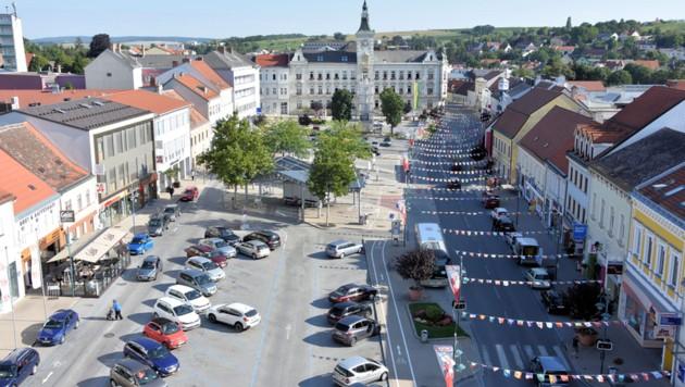 Der Hauptplatz in Mistelbach soll umgestaltet werden (Bild: Stadtgemeinde Mistelbach)