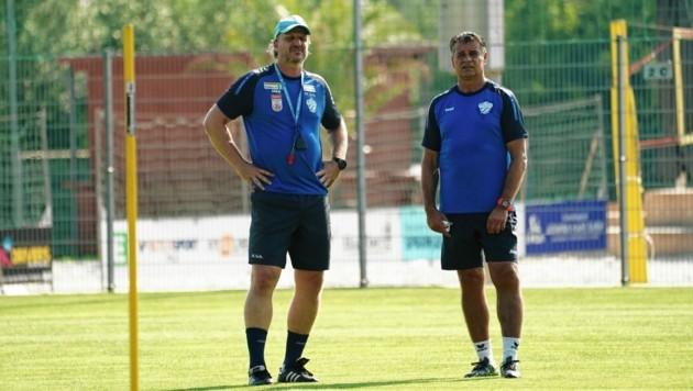 Kurt Russs (re.) folgt in Hartberg Markus Schopp (li.) als Trainer nach. (Bild: Sepp Pail)