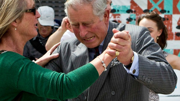 Prinz Charles 2012 während eines Tanzwettbewerbs im neuseeländischen Christchurch (Bild: AFP)