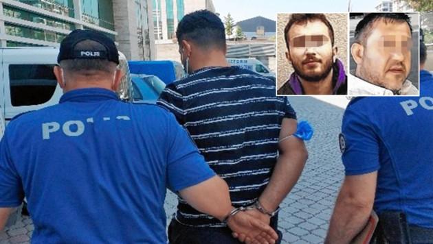 Der Todeslenker aus Wien (34) wurde in U-Haft genommen. Oben: die beiden getöteten Polizisten Murat U. (42) und Burkay K. (19) (Bild: www.iha.com; samsunhaberhatti.com (2), Krone KREATIV)