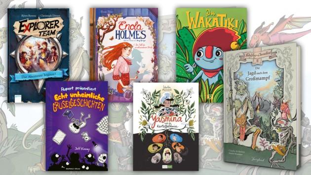 (Bild: Arena Verlag, Baumhaus Verlag, Reprodukt, Fairyland Verlag, Vermes Verlag, Splitter, Krone KREATIV)
