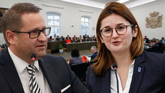 Salzburgs ÖVP-Klubchef Wolfgang Mayer, FPÖ-Klubobfrau Marlene Svazek (Bild: Markus Tschepp)