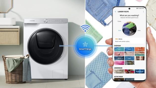 Samsung bietet bei vielen seiner Waschmaschinen WLAN und App-Steuerung an. (Bild: Samsung)