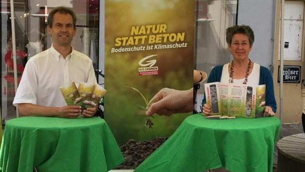 Start der Grünen Kampagne mit Petrik und Spitzmüller. (Bild: Grüne Bgld.)