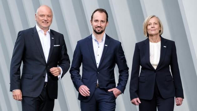 Seit April in dieser Konstellation an der Spitze der VKB-Bank: Alexander Seiler, Markus Auer (M.) und Maria Steiner. (Bild: VKB-Bank/Eric Krügl)