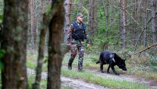 Ein litauischer Grenzpolizist auf Streife (Bild: AP)
