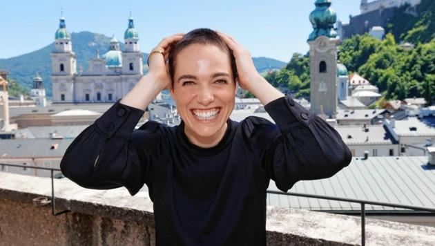 """Die erste Probe auf dem Domplatz fand am Dienstag statt - für Verena Altenberger fühlte es sich nach """"zu Hause"""" an. (Bild: Markus Tschepp)"""