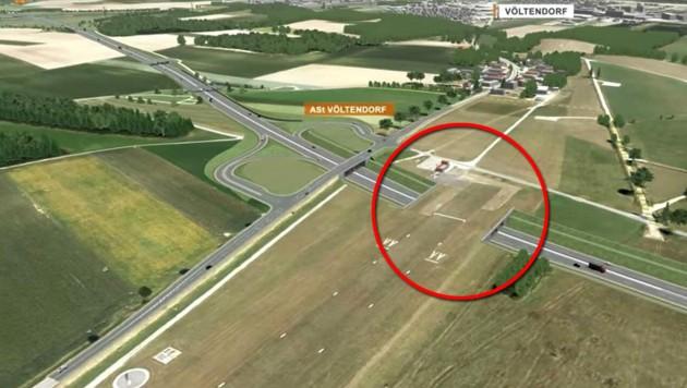 Der Flugplatz in Völtendorf im Süden St. Pöltens soll untertunnelt werden. Ein Rendering der Asfinag zeigt den geplanten Tunnelabschnitt unter der Piste des Flughafens. (Bild: Asfinag)