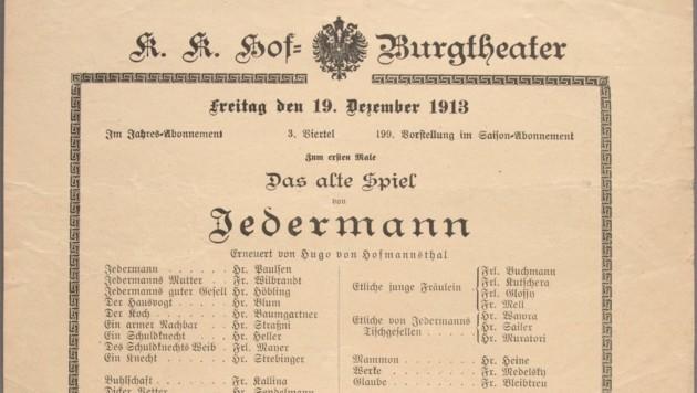 """""""Jedermann""""-Theaterzettel der Burgtheater-Aufführung im Jahr 1913. (Bild: Benevento Verlag)"""
