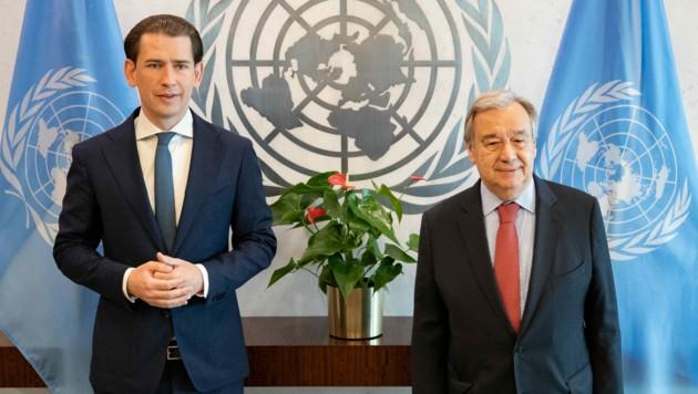 Bundeskanzler Sebastian Kurz traf am Montag im Rahmen seiner USA-Reise mit UNO-Generalsekretär Antonio Guterres in New York zusammen. (Bild: APA/BKA/ARNO MELICHAREK)