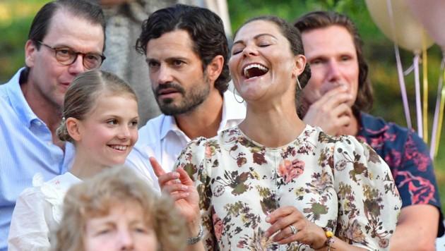 Kronprinzessin Victoria hatte am Tag vor ihrem 44. Geburtstag bei einem Konzert in Solliden (Bild: Jonas Ekströmer / TT News Agency / picturedesk.com)