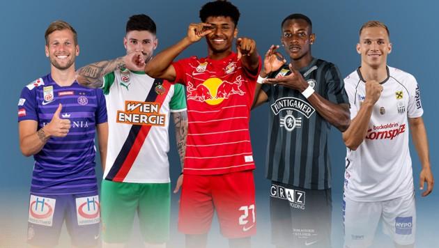 Alexander Grünwald (FK Austria Wien), Taxiarchis Fountas (SK Rapid Wien), Karim Adeyemi (Red Bull Salzburg), Kelvin Yeboah (SK Sturm Graz) und Christoph Monschein (LASK) (Bild: GEPA )