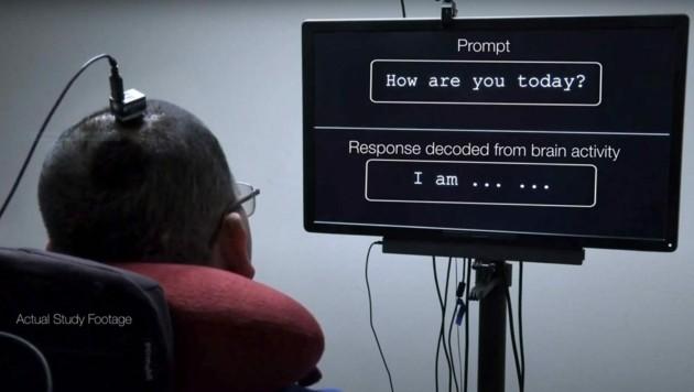 """Mithilfe der revolutionären Technik konnte Studienteilnehmer """"BRAVO1"""" einfache Sätze bilden. (Bild: UCSF)"""