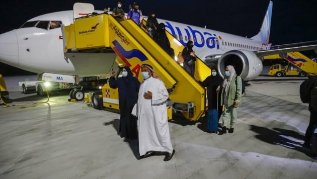 Mit gut 50 Minuten Verspätung landeten die gut 145 Passagiere aus den Arabischen Emiraten (Bild: Tschepp Markus)