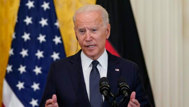 Joe Biden nach dem Treffen mit Angela Merkel (Bild: Associated Press)