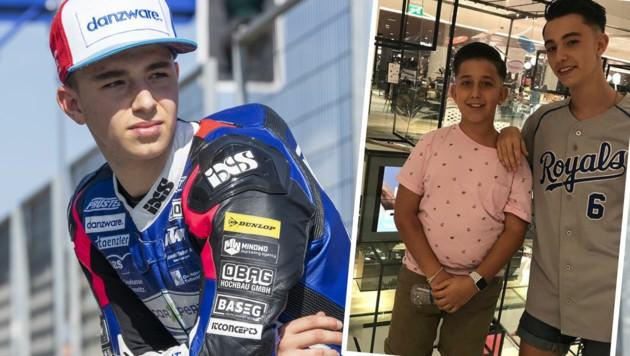 Jason Dupasquier im Februar 2020 bei den Moto2-Testtagen in Jerez (li.) und auf einem von seinem Bruder Bryan geposteten Bild auf Instagram (Bild: APA/KEYSTONE/MARCEL BIERI, Instagram.com/bryandupasquier33.com)