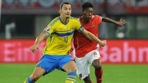 Der neue Real-Star David Alaba und Milan-Torjäger Zlatan Ibrahimovic treten in Klagenfurt vor 30.000 Fans an, das Spiel ist ausverkauft. (Bild: F. Pessentheiner)