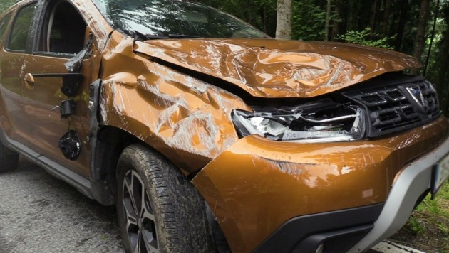 Der geschrottete Dacia-SUV des Alko-Lenkers. (Bild: Maurice Shourot)