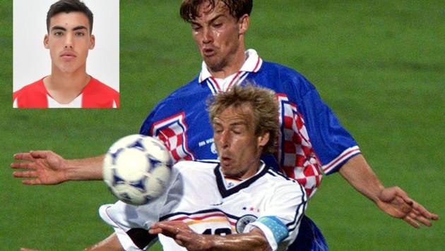 Roko Simic (kl. B.) ist der Sprössling der kroatischen Fußball-Legende Dario Simic, hier im Duell mit Jürgen Klinsmann. (Bild: Reuters, HNK)