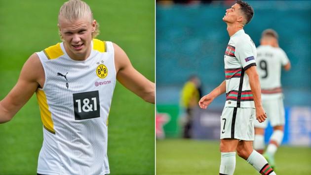 Erling Haaland (links), Cristiano Ronaldo (Bild: AP)