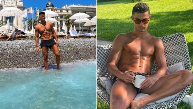"""Maschine"" mit 4,3 Prozent Fettanteil: Flavius Daniliuc (links); Cristiano Ronaldo kommt auf sieben Prozent Fettanteil. (Bild: laviusdanil. Instagram.com/cristiano)"