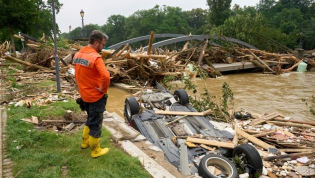 Für das Europäische Hochwasser-Warnsystem kamen die Wassermassen nicht überraschend. (Bild: APA/dpa/Thomas Frey)
