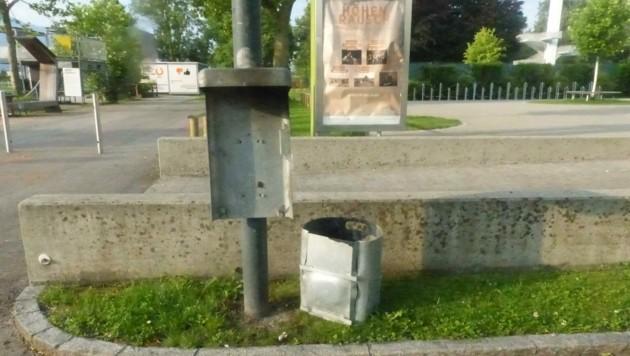 Mistkübel wurden mit Böllern gesprengt. (Bild: Landespolizeidirektion Vorarlberg)